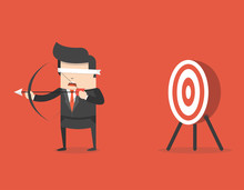 Blindfold Businessman Holding Bow And Arrow Look For Target In Wrong Direction. Business Concept. Flat Cartoon Style. Vector Illustration.