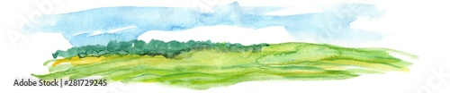 Tuinposter Wit Hand Drawn Watercolor Landscape