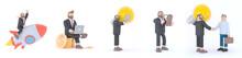 Set Of 3d Illustrations.3D Man Boss Financial Person Icon Set.