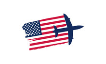 National Aviation Day In United States. Holiday, Celebrated Annual In August 19. Design With Airplane And American Flag. Patriotic Element. Poster, Greeting Card, Banner And Background. Vector