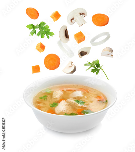 Dish with fresh homemade chicken soup on white background Wallpaper Mural