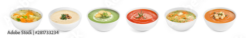 Set of different fresh homemade soups on white background Fototapete