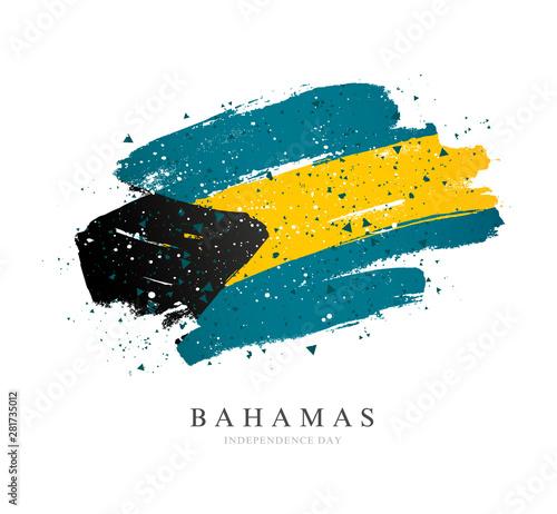 Photo Bahamas flag. Vector illustration on a white background.