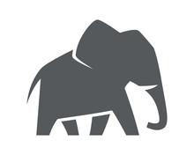 Elephant Symbol  Isolated On White