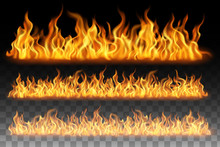 Collection Of Flame Effect Isolated On Transparent Background