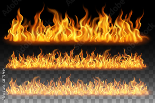Obraz Collection of flame effect isolated on transparent background - fototapety do salonu
