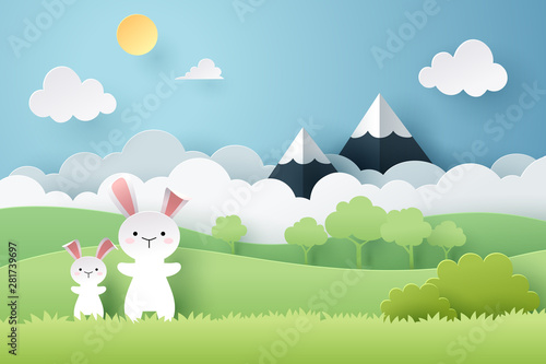 mata magnetyczna Paper art of rabbit and grass field