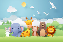 Paper Craft Of Zoo Animals And...