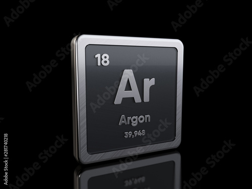 Argon Ar, element symbol from periodic table series Canvas Print