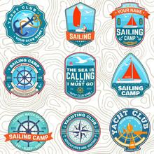 Set Of Summer Sailing Camp Pat...