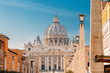 Rome, Italy. St. Peter's Square With Papal Basilica Of St. Peter In The Vatican