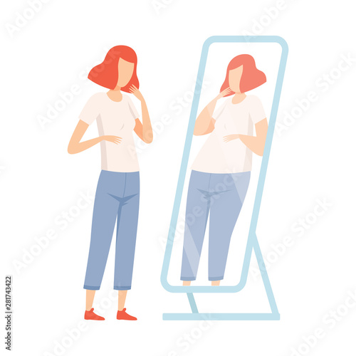 Slim Teen Girl Seeing Herself Fat in Mirror, Teenager Puberty Problem Vector Ill Canvas Print