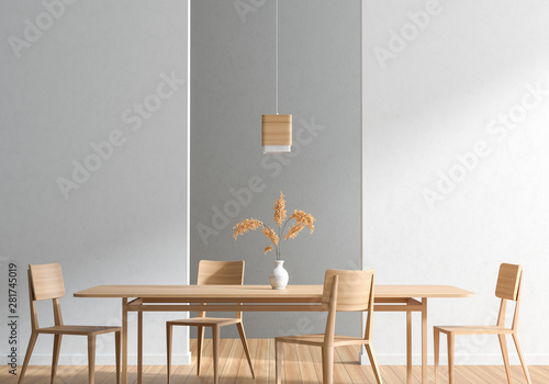 Fotografiet Spacious modern dining room with wooden chairs and table