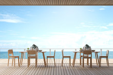 3D Rendering : Illustration Of Dining Room Interior. Dinner Or Lunch Table Set In Restaurant Of Beach Resort Or Hotel. Luxury Lifestyle Foodcourt. Sea View Eating Dining Room. Daylight. Summer Travel
