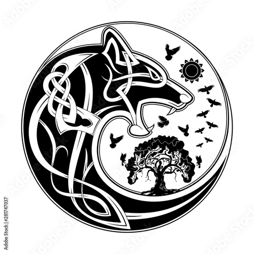 Wolf_Yin_Yang_Celtik_4 Canvas Print
