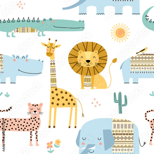 fototapeta na drzwi i meble Seamless childish pattern with cute African animals. Scandinavian style kids texture for fabric, wrapping, textile. Vector illustration.