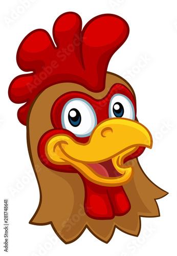 Photo  A chicken cartoon rooster cockerel character mascot