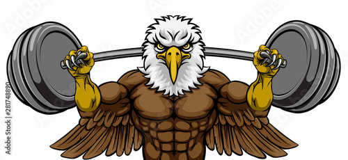 Stampa su Tela An eagle animal body builder sports mascot weight lifting a barbell