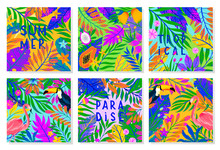 Set Of Summer Vector Illustration With Bright Tropical Leaves,flamingo,toucan And Exotic Fruits.Multicolor Plants.Exotic Backgrounds Perfect For Prints,flyers,banners,invitations,social Media.