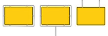 Set Of 3 Blank Yellow Road Sig...