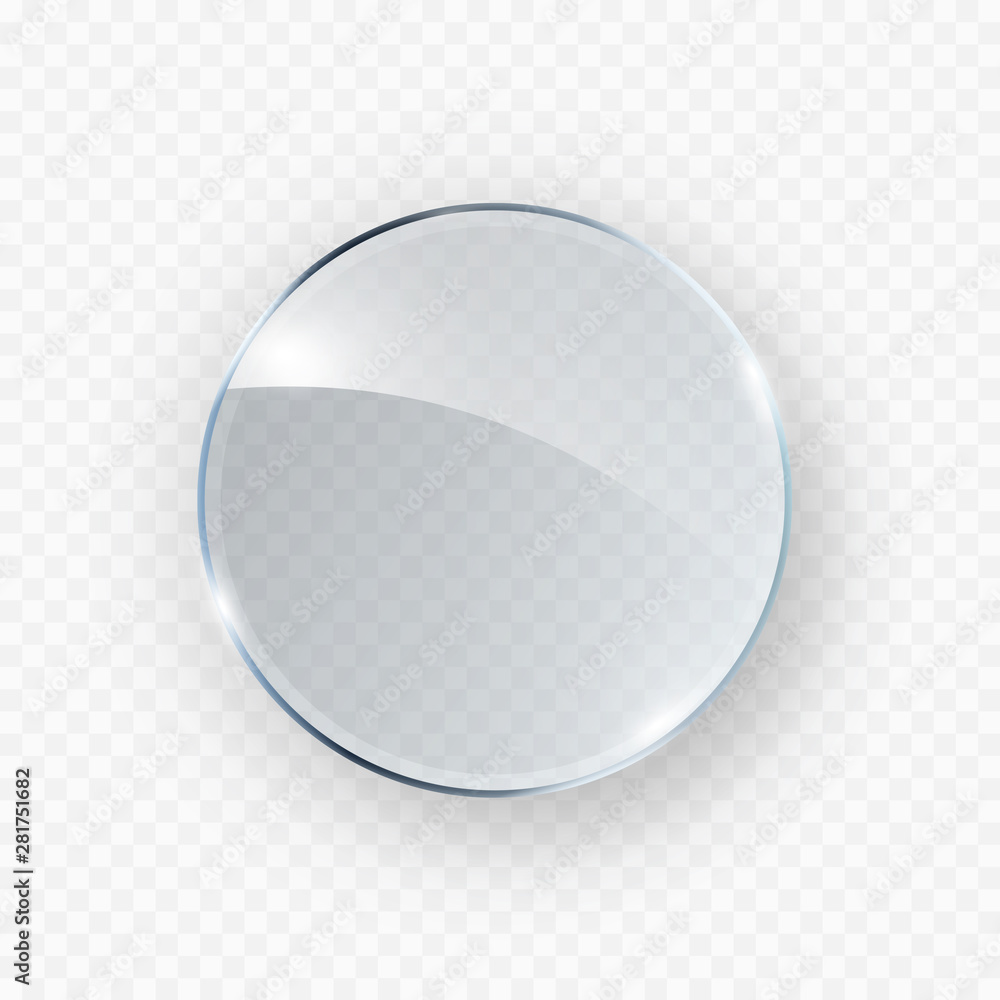 Fototapety, obrazy: Glass, acrylic or plastic circle badge isolated on transparent background. Reflection 3d button, glare mirror. Vector glossy round icon.