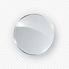 Glass, Acrylic Or Plastic Circle Badge Isolated On Transparent Background. Reflection 3d Button, Glare Mirror. Vector Glossy Round Icon.