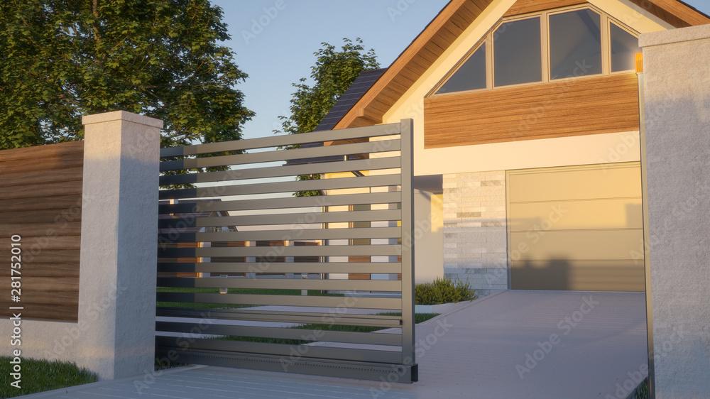 Fototapeta Automatic Sliding Gate and house, 3d illustration