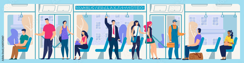 Fototapeta People on City Bus or Tram Flat Vector Concept