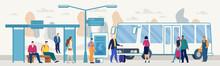 Passengers On City Bus Stop Platform Flat Vector