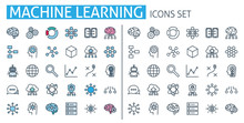 Machine Learning Icons Set. For Ai Brain Technology App, Digital Human, Artificial Intelligence
