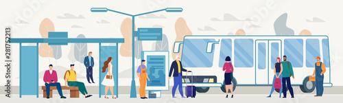 Passengers on City Bus Stop Platform Flat Vector Fototapet