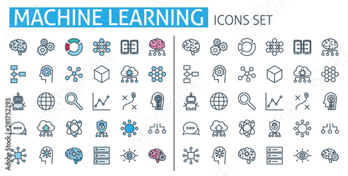 Cuadros en Lienzo  Machine learning icons set