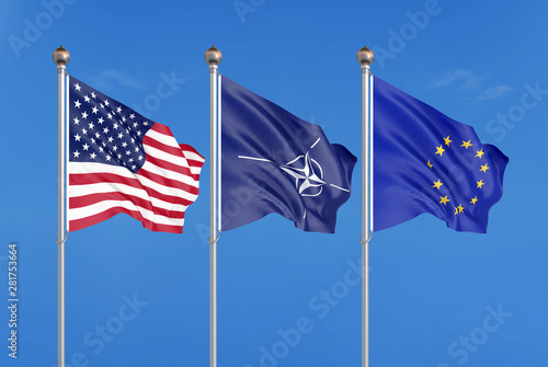 Photo Three colored silky flags in the wind: USA (United States of America), EU (European Union) and Nato