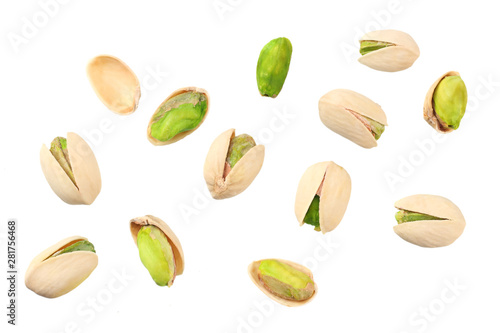 fototapeta na lodówkę pistachio isolated on the white background. top view