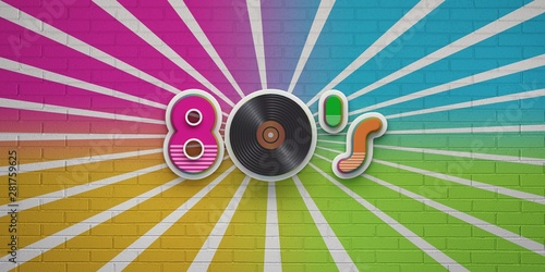 Valokuva  80s Disco Party on Colorful brick wall banner