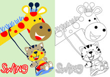 Cartoon Vector Of Giraffe And Tiger Playing Swing, Coloring Book Or Page