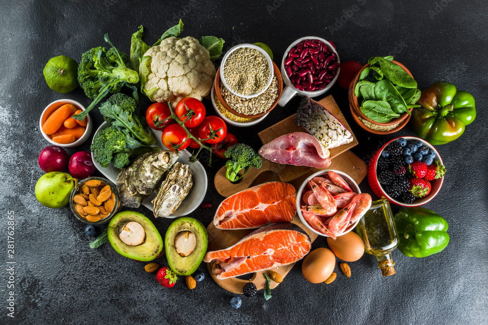Fototapety, obrazy: Pescetarian diet plan ingredients, healthy balanced grocery food, fresh fruit, berries, fish and shellfish clams,  black background copy space