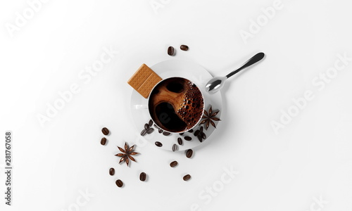 Wall Murals Cafe cup of coffee with coffee beans, saucer,cinnamon seeds, cookies and spoon isolated on a white background, 3d render
