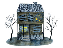 Watercolor Wooden Old Abandoned Haunted House With Boarded And Glowing Windows, Bare Trees. Hand Drawn Halloween Card Isolated On White Background. Holiday Print Element For Design