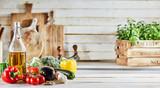 Fresh healthy vegetable ingredients for cooking