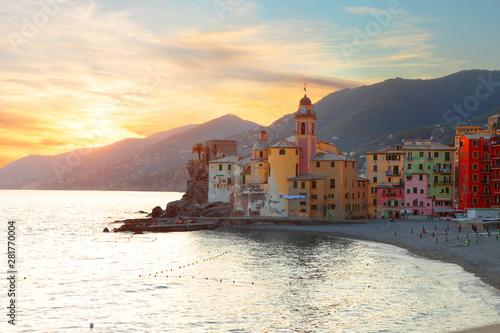 Foto auf Gartenposter Ligurien Camogli at sunset, Liguria, Italy