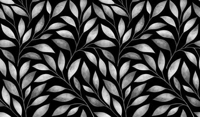 FototapetaSeamless pattern with stylized tree branches. Watercolor illustration.