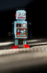 Vintage blue robot toy