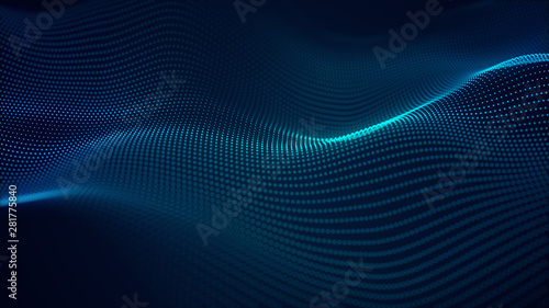 Tuinposter Abstract wave beautiful abstract wave technology background with blue light digital effect corporate concept