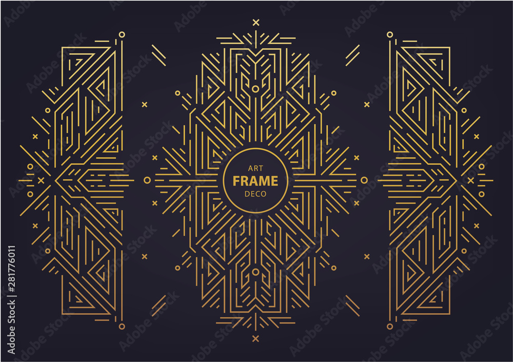 Fototapety, obrazy: Set of vector Art deco golden borders, frame. Creative templates in style of 1920s. Trendy cover, graphic poster, gatsby brochure, design, packaging and branding. Geometric shapes, ornaments