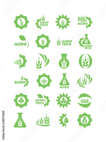 Set of green agro and bio icons for logo Canvas Print