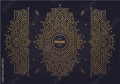 Set of vector Art deco golden borders, frame Canvas Print