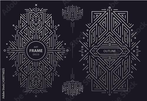 Set of vector Art deco golden borders, frame Fototapete