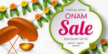 Onam Sale Promotion Banner Decorated Floral Wreath With Umbrella. South India Kerala Traditional Festival Discount Offer. Vector Illustration.