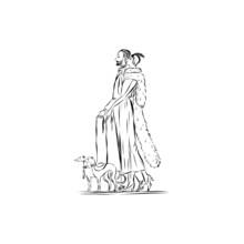 Man And Woman Are Walking With Dogs In Vintage Elegant Clothes Nineteenth Century Style Illustration Of People